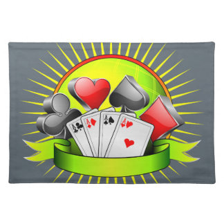 Casino illustration with gambling elements cloth place mat