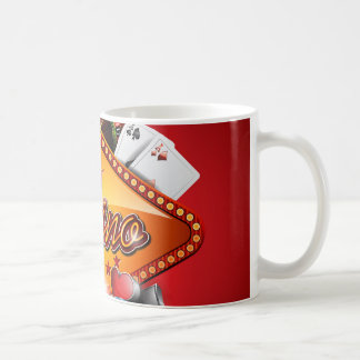 Casino illustration with gambling elements coffee mug