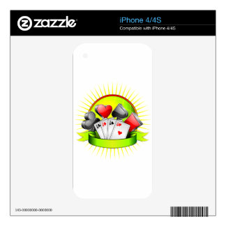 Casino illustration with gambling elements decals for iPhone 4
