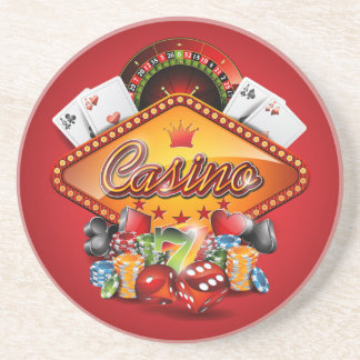 Casino illustration with gambling elements drink coaster