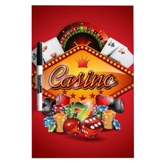 Casino illustration with gambling elements Dry-Erase board
