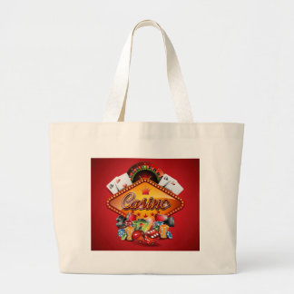 Casino illustration with gambling elements large tote bag