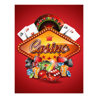 Casino illustration with gambling elements letterhead