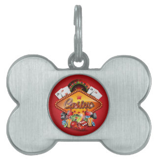 Casino illustration with gambling elements pet tag