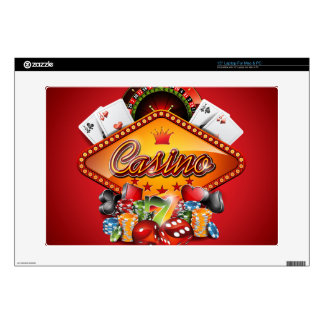 "Casino illustration with gambling elements skin for 15"" laptop"