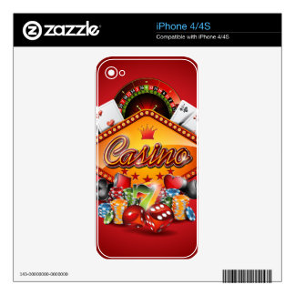 Casino illustration with gambling elements skin for iPhone 4S