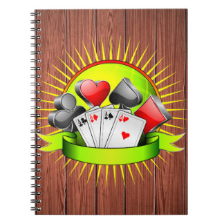 Casino illustration with gambling elements spiral notebook