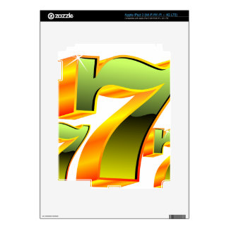Casino illustration with green sevens. iPad 3 decal