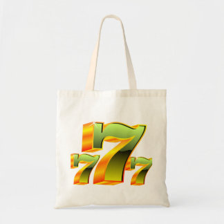 Casino illustration with green sevens. tote bag
