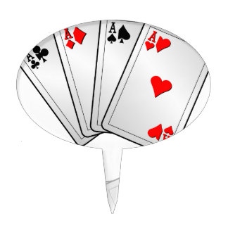Casino illustration with poker cards aces cake topper