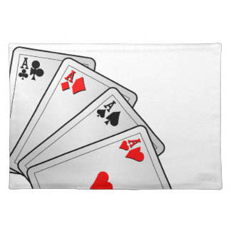 Casino illustration with poker cards aces cloth placemat