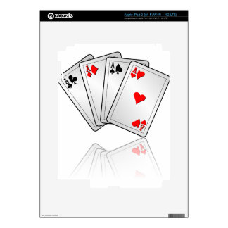 Casino illustration with poker cards aces decals for iPad 3