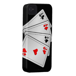 Casino illustration with poker cards aces iPhone 4 case