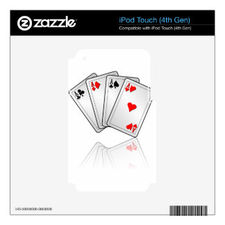 Casino illustration with poker cards aces iPod touch 4G decal