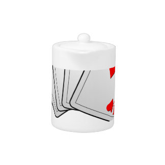 Casino illustration with poker cards aces teapot