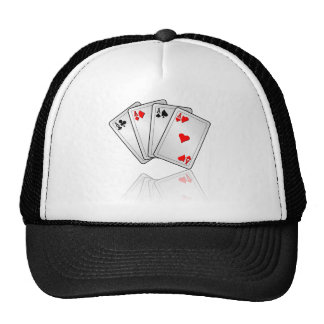 Casino illustration with poker cards aces trucker hat