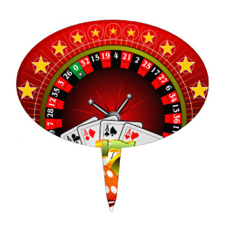 Casino illustration with roulette wheel and dices cake toppers