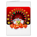 Casino illustration with roulette wheel and dices card