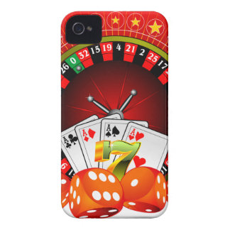 Casino illustration with roulette wheel and dices Case-Mate iPhone 4 case