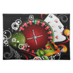 Casino illustration with roulette wheel and dices cloth place mat
