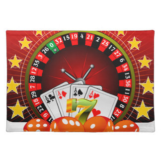 Casino illustration with roulette wheel and dices cloth placemat