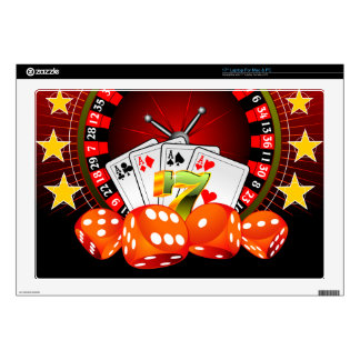 """Casino illustration with roulette wheel and dices decal for 17"""" laptop"""