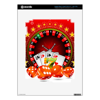 Casino illustration with roulette wheel and dices decal for iPad 3