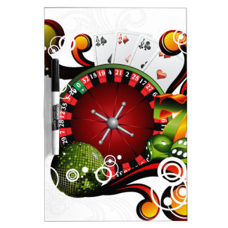 Casino illustration with roulette wheel and dices Dry-Erase board