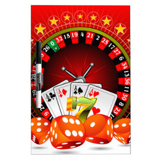 Casino illustration with roulette wheel and dices dry erase board