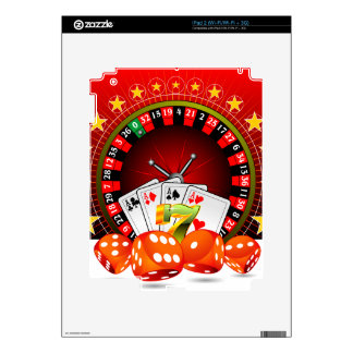 Casino illustration with roulette wheel and dices iPad 2 skins