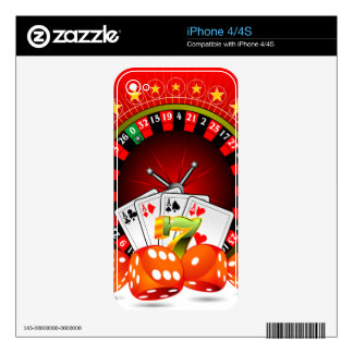 Casino illustration with roulette wheel and dices iPhone 4 decal