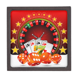Casino illustration with roulette wheel and dices keepsake box