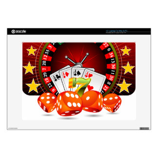 Casino illustration with roulette wheel and dices laptop skins