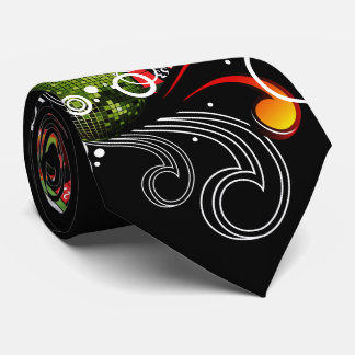 Casino illustration with roulette wheel and dices neck tie