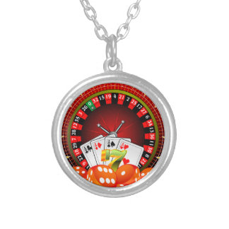 Casino illustration with roulette wheel and dices silver plated necklace