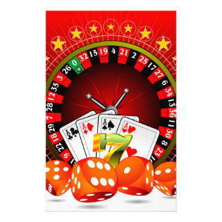 Casino illustration with roulette wheel and dices stationery