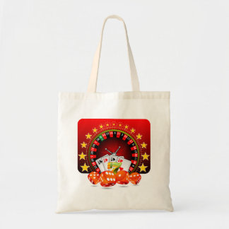 Casino illustration with roulette wheel and dices tote bag