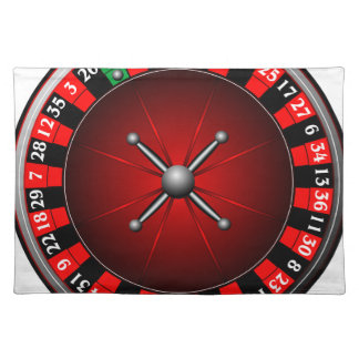 Casino illustration with roulette wheel cloth place mat