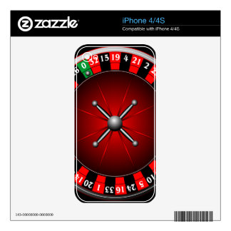 Casino illustration with roulette wheel decals for iPhone 4S