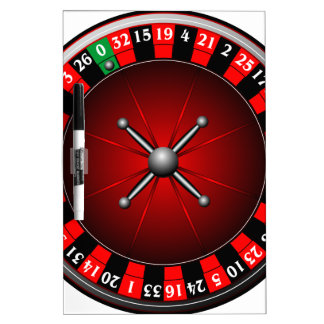 Casino illustration with roulette wheel dry erase board