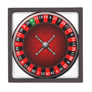 Casino illustration with roulette wheel jewelry box
