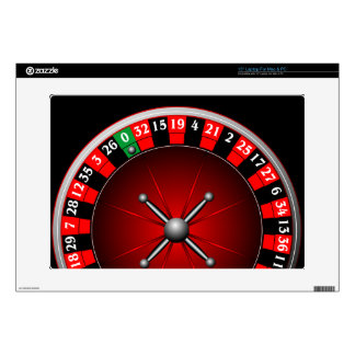Casino illustration with roulette wheel laptop decal