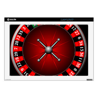 """Casino illustration with roulette wheel skin for 17"""" laptop"""