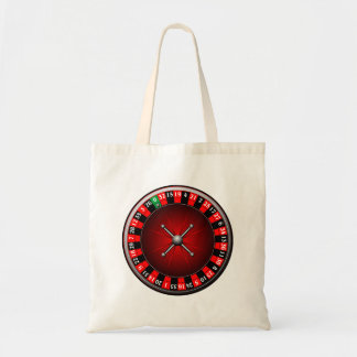 Casino illustration with roulette wheel tote bag