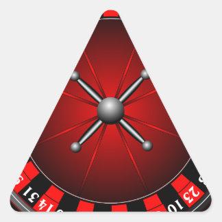 Casino illustration with roulette wheel triangle sticker