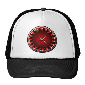 Casino illustration with roulette wheel trucker hat