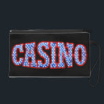 """Casino in Red White &amp; Blue Wristlet Purse<br><div class=""""desc"""">A cool photograph of a Casino neon sign in red,  white and blue!  Copyright &#169; 2009 Karin Hildebrand Lau.</div>"""