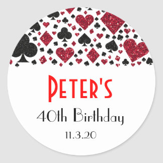 Casino Las Vegas Birthday Party Favor Labels Classic Round Sticker