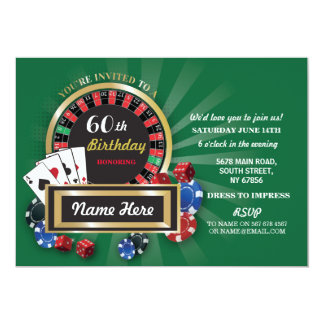 Casino Night Birthday Las Vegas Roulette Invite