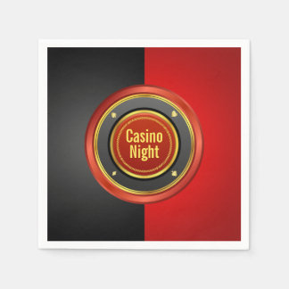 Casino Night Black and Red Poker Chip Paper Napkin